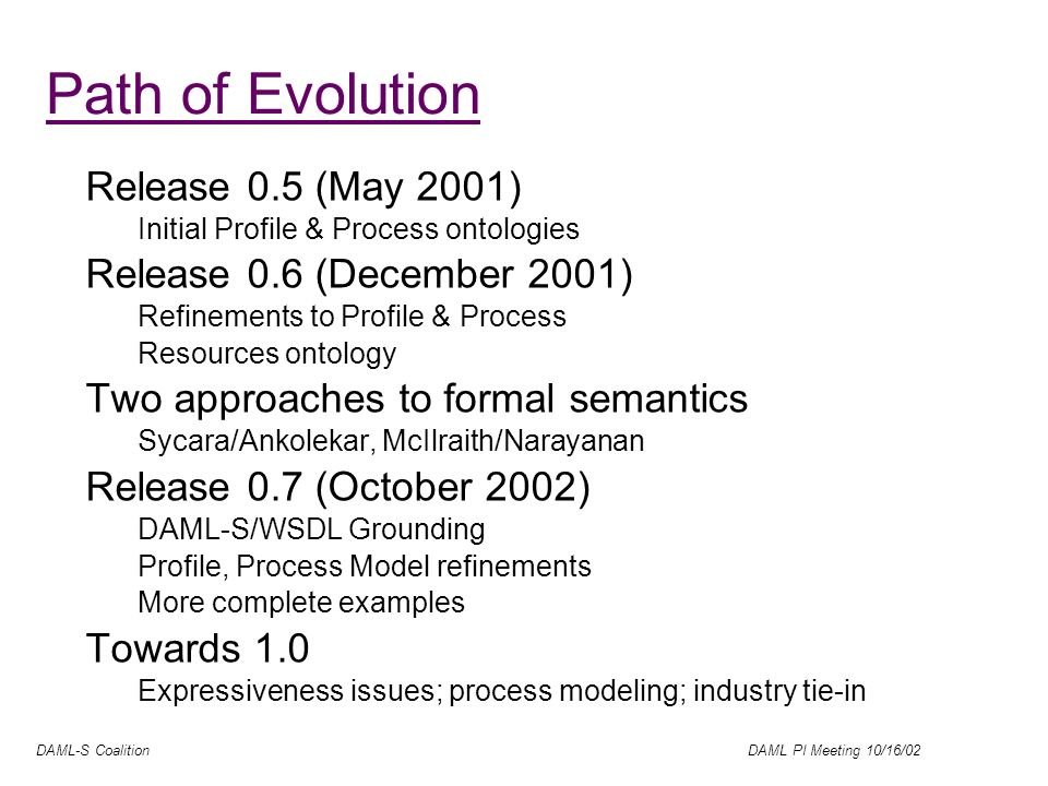 DAML-S Coalition DAML PI Meeting 10/16/02 Path of Evolution Release 0.5 (May 2001) Initial Profile & Process ontologies Release 0.6 (December 2001) Refinements to Profile & Process Resources ontology Two approaches to formal semantics Sycara/Ankolekar, McIlraith/Narayanan Release 0.7 (October 2002) DAML-S/WSDL Grounding Profile, Process Model refinements More complete examples Towards 1.0 Expressiveness issues; process modeling; industry tie-in