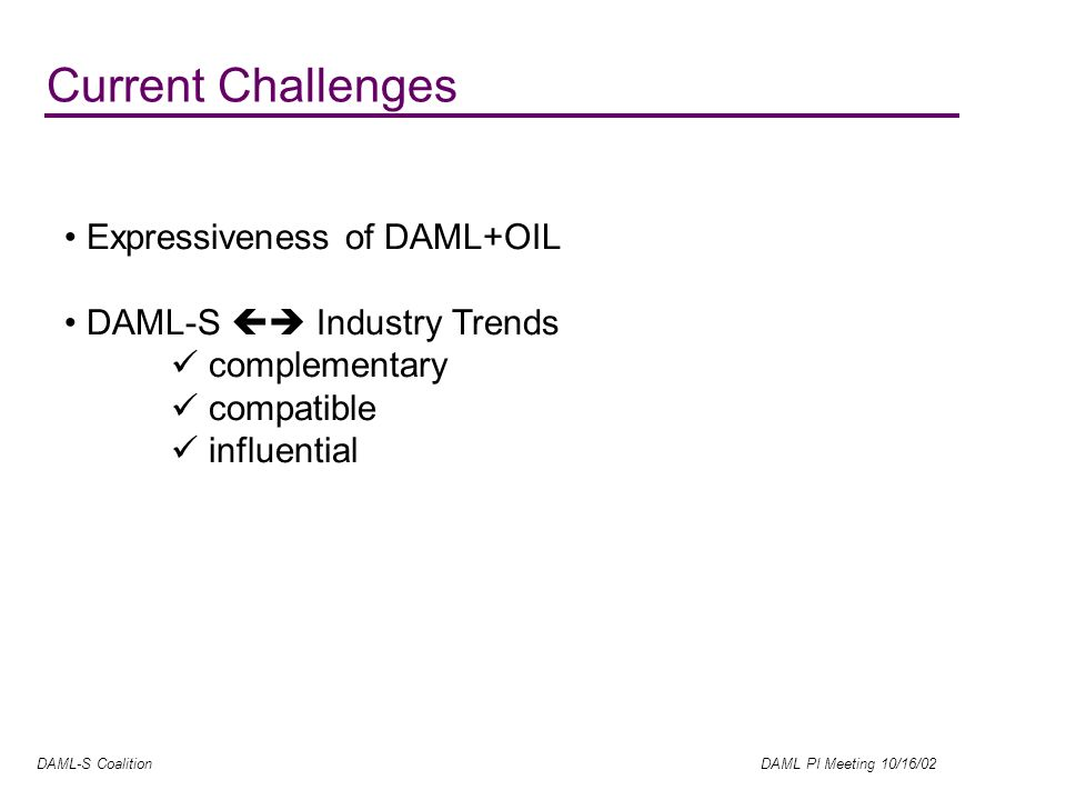 DAML-S Coalition DAML PI Meeting 10/16/02 Expressiveness of DAML+OIL DAML-S Industry Trends complementary compatible influential Current Challenges