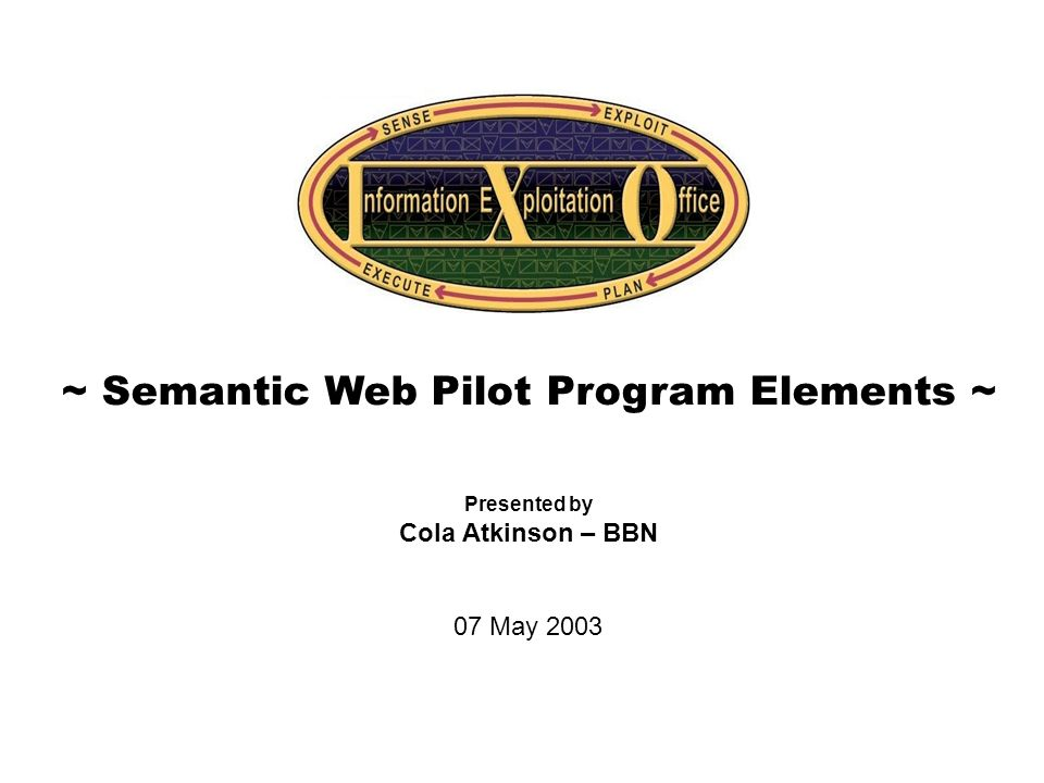 Cover Slide ~ Semantic Web Pilot Program Elements ~ Presented by Cola Atkinson – BBN 07 May 2003