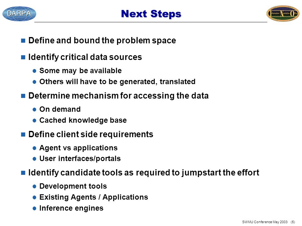 SWMU Conference May 2003 (5) Next Steps n Define and bound the problem space n Identify critical data sources l Some may be available l Others will have to be generated, translated n Determine mechanism for accessing the data l On demand l Cached knowledge base n Define client side requirements l Agent vs applications l User interfaces/portals n Identify candidate tools as required to jumpstart the effort l Development tools l Existing Agents / Applications l Inference engines