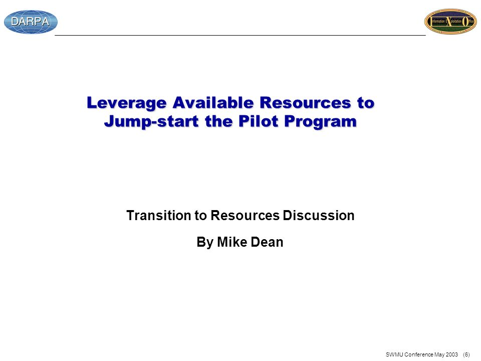 SWMU Conference May 2003 (6) Leverage Available Resources to Jump-start the Pilot Program Transition to Resources Discussion By Mike Dean