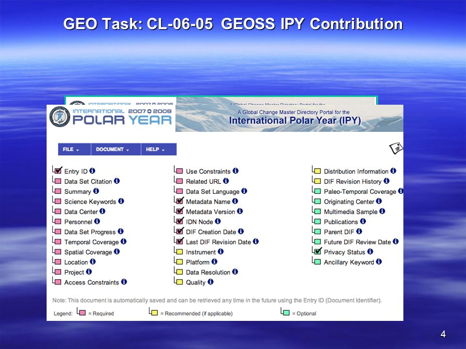 4 GEO Task: CL-06-05 GEOSS IPY Contribution