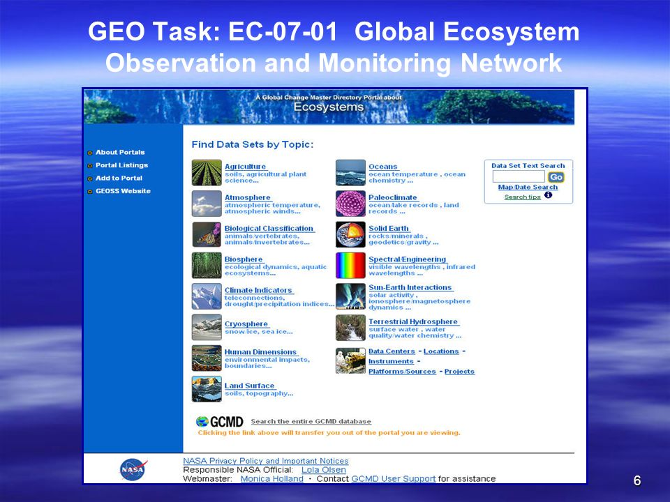 6 GEO Task: EC-07-01 Global Ecosystem Observation and Monitoring Network