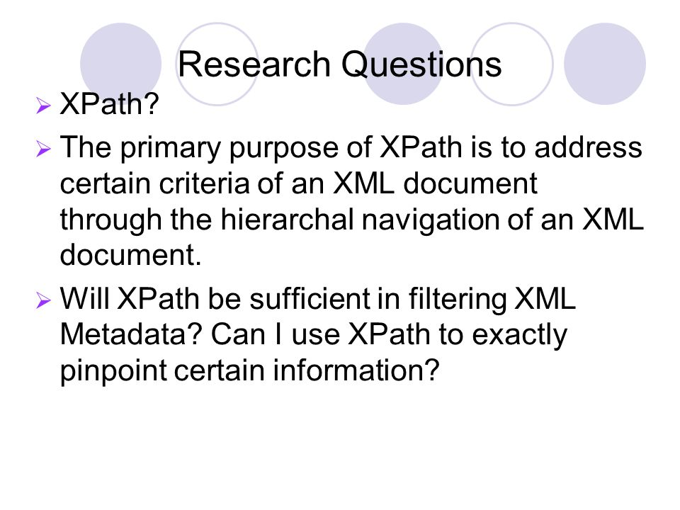 Research Questions XPath.