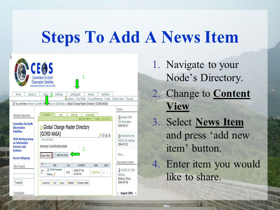 Steps To Add A News Item 1.Navigate to your Nodes Directory.