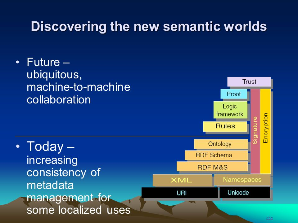 Discovering the new semantic worlds Future – ubiquitous, machine-to-machine collaboration Today – increasing consistency of metadata management for some localized uses cite
