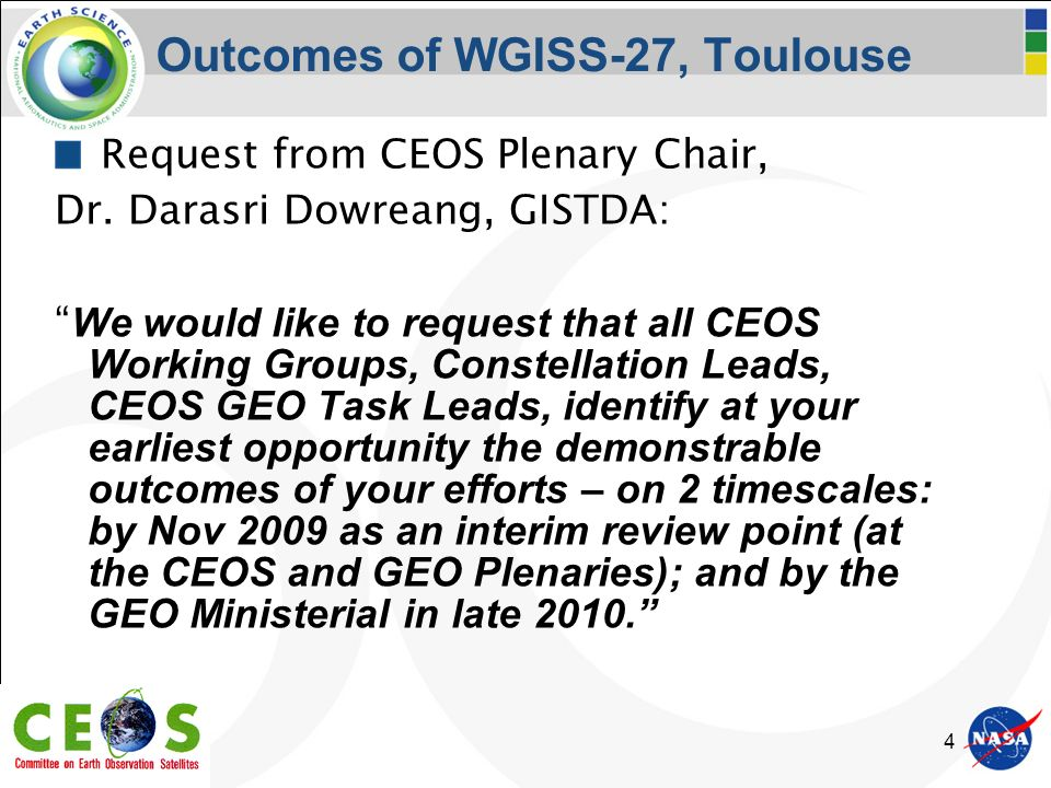 4 Outcomes of WGISS-27, Toulouse Request from CEOS Plenary Chair, Dr.