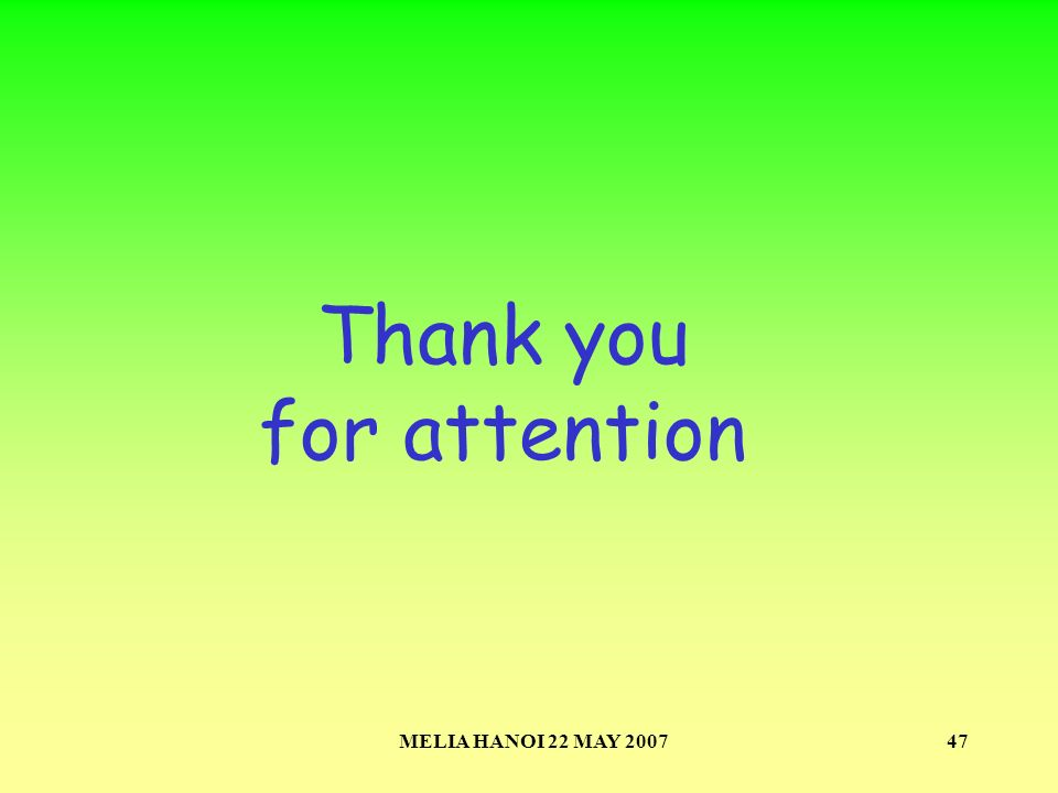 MELIA HANOI 22 MAY 200747 Thank you for attention