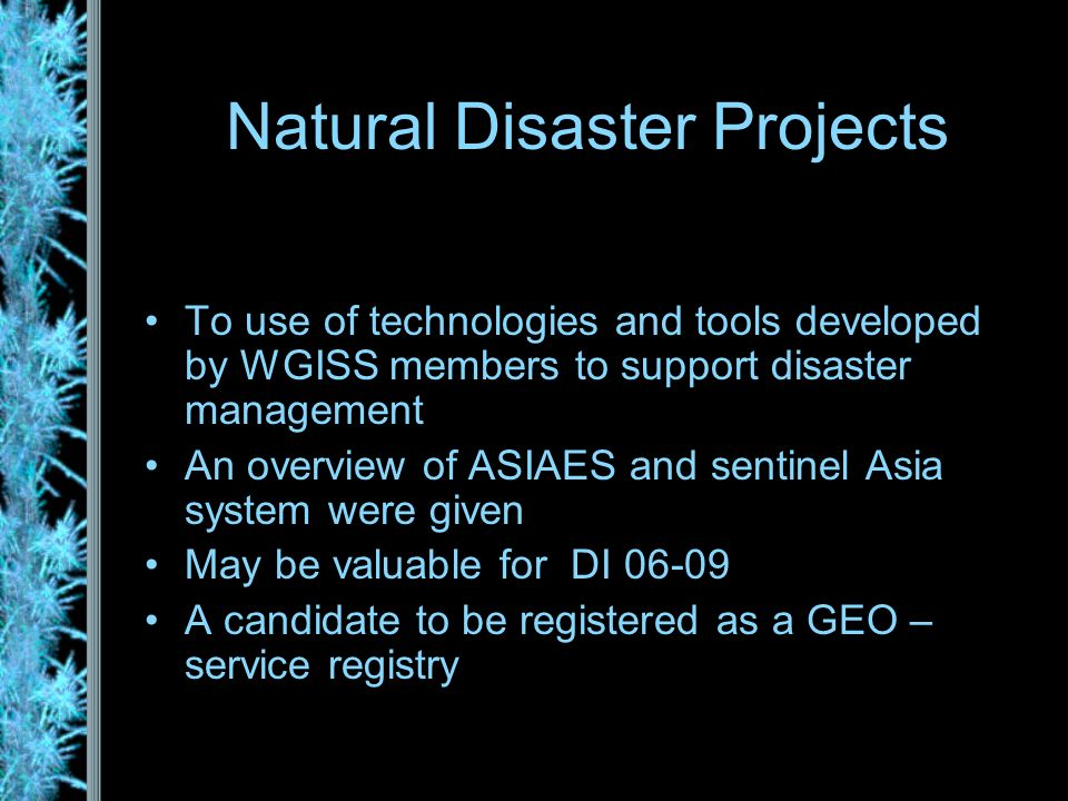 Natural Disaster Projects To use of technologies and tools developed by WGISS members to support disaster management An overview of ASIAES and sentinel Asia system were given May be valuable for DI 06-09 A candidate to be registered as a GEO – service registry