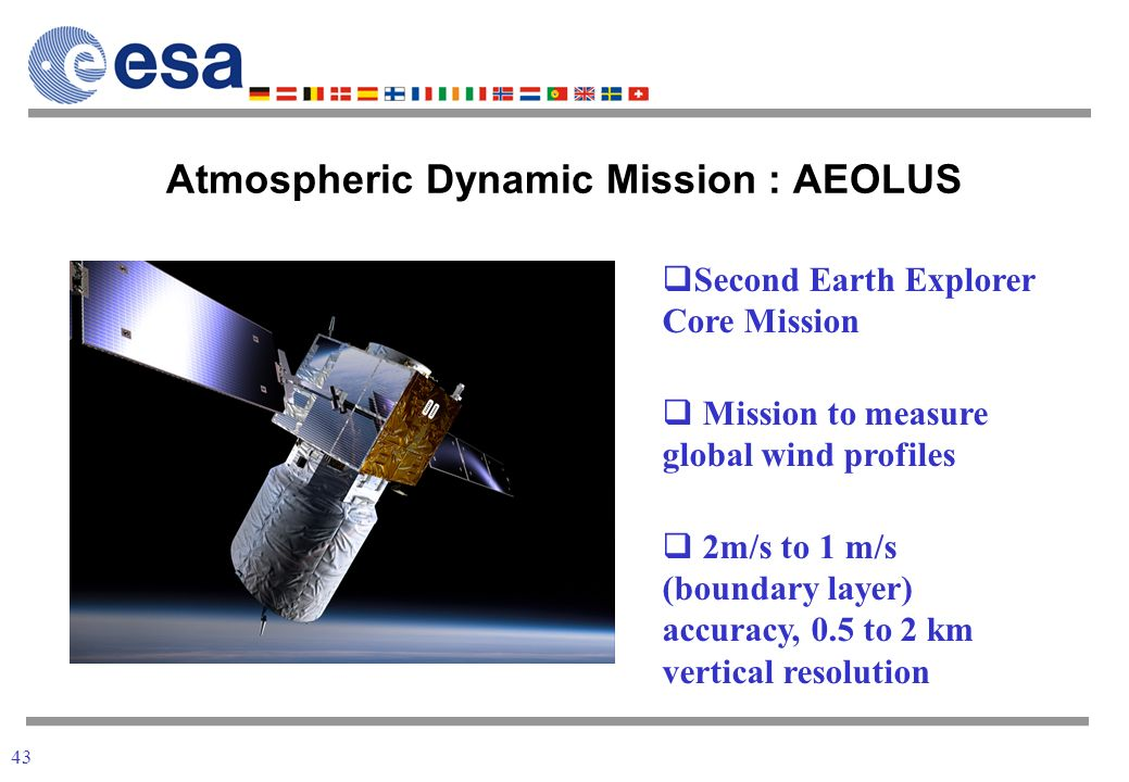 43 Atmospheric Dynamic Mission : AEOLUS Second Earth Explorer Core Mission Mission to measure global wind profiles 2m/s to 1 m/s (boundary layer) accuracy, 0.5 to 2 km vertical resolution