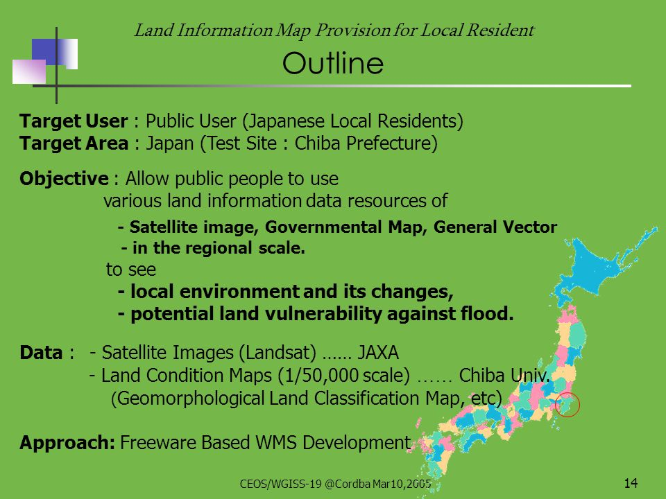 CEOS/WGISS-19 @Cordba Mar10,2005 13 ~ status of JAXA/CEReS OGC system~ Land Information Map Provision system for Local Resident With Chiba Univ.