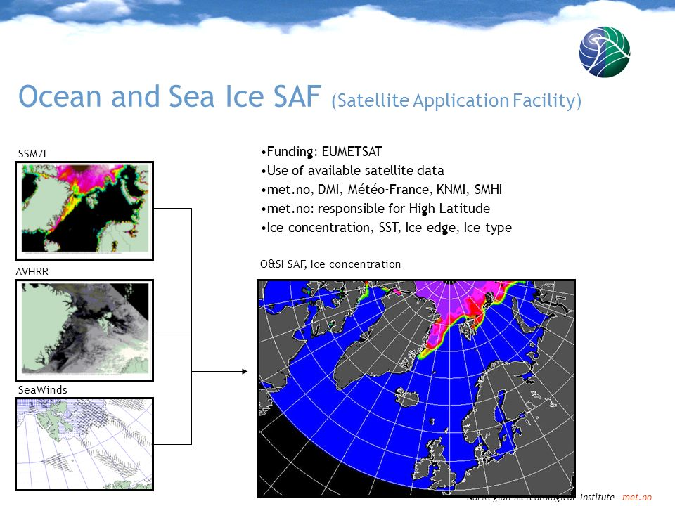 Norwegian Meteorological Institute met.no Ocean & Sea Ice SAF - EUMETSAT Developed 1987-2002 (Pre-) Operational 2003-2007 Hopefully operational from METOP launch Automatic production of multi-sensor ice products Free use for all EUMETSAT members + other Arhive and user support