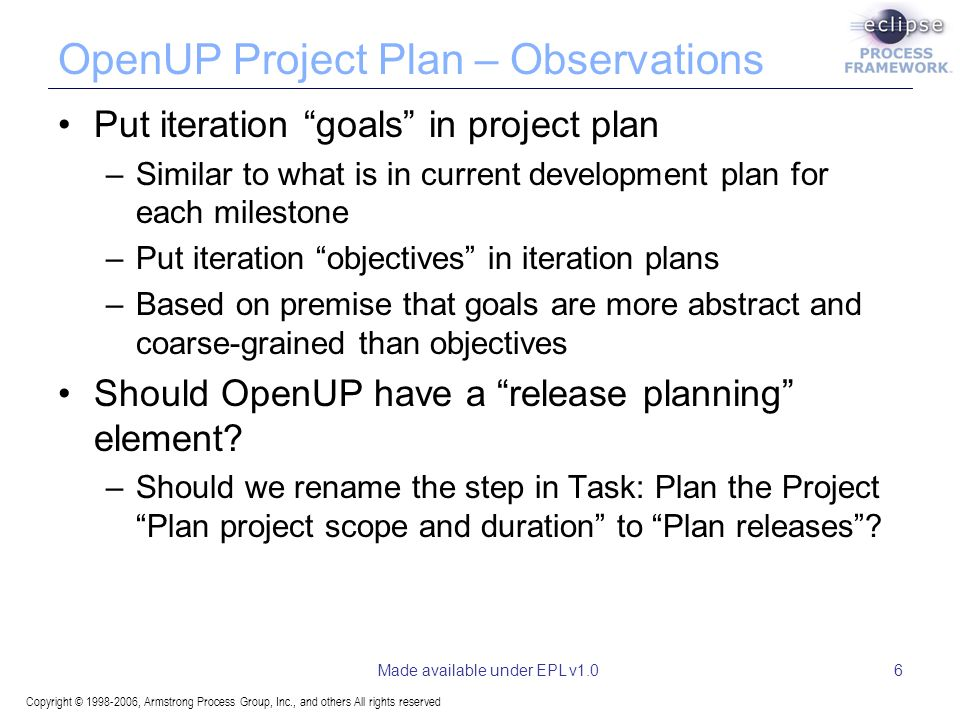 Copyright © 1998-2006, Armstrong Process Group, Inc., and others All rights reserved Made available under EPL v1.06 OpenUP Project Plan – Observations Put iteration goals in project plan –Similar to what is in current development plan for each milestone –Put iteration objectives in iteration plans –Based on premise that goals are more abstract and coarse-grained than objectives Should OpenUP have a release planning element.