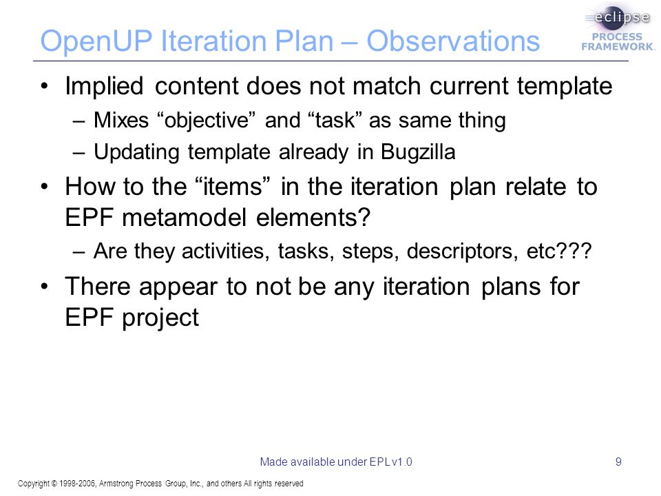Copyright © 1998-2006, Armstrong Process Group, Inc., and others All rights reserved Made available under EPL v1.09 OpenUP Iteration Plan – Observations Implied content does not match current template –Mixes objective and task as same thing –Updating template already in Bugzilla How to the items in the iteration plan relate to EPF metamodel elements.