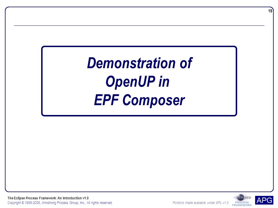 The Eclipse Process Framework: An Introduction v1.0 Copyright © , Armstrong Process Group, Inc., All rights reserved Portions made available under EPL v Demonstration of OpenUP in EPF Composer