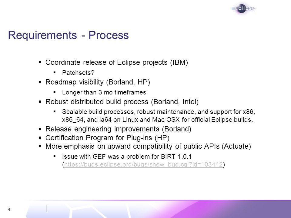 4 Requirements - Process Coordinate release of Eclipse projects (IBM) Patchsets.