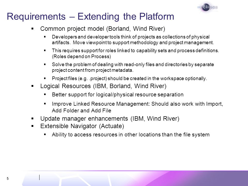 5 Requirements – Extending the Platform Common project model (Borland, Wind River) Developers and developer tools think of projects as collections of physical artifacts.