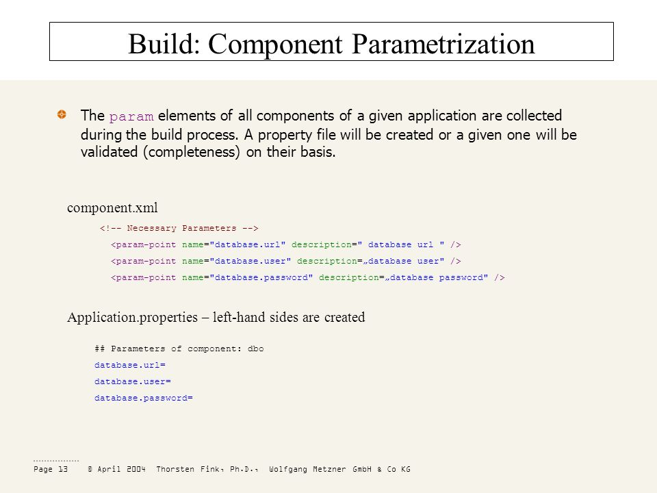 Page 13 © April 2004 Thorsten Fink, Ph.D., Wolfgang Metzner GmbH & Co KG Build: Component Parametrization The param elements of all components of a given application are collected during the build process.