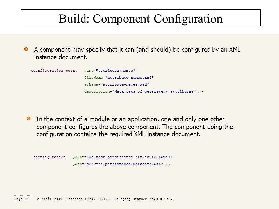 Page 14 © April 2004 Thorsten Fink, Ph.D., Wolfgang Metzner GmbH & Co KG Build: Component Configuration A component may specify that it can (and should) be configured by an XML instance document.