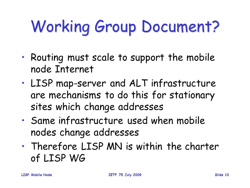 Working Group Document.