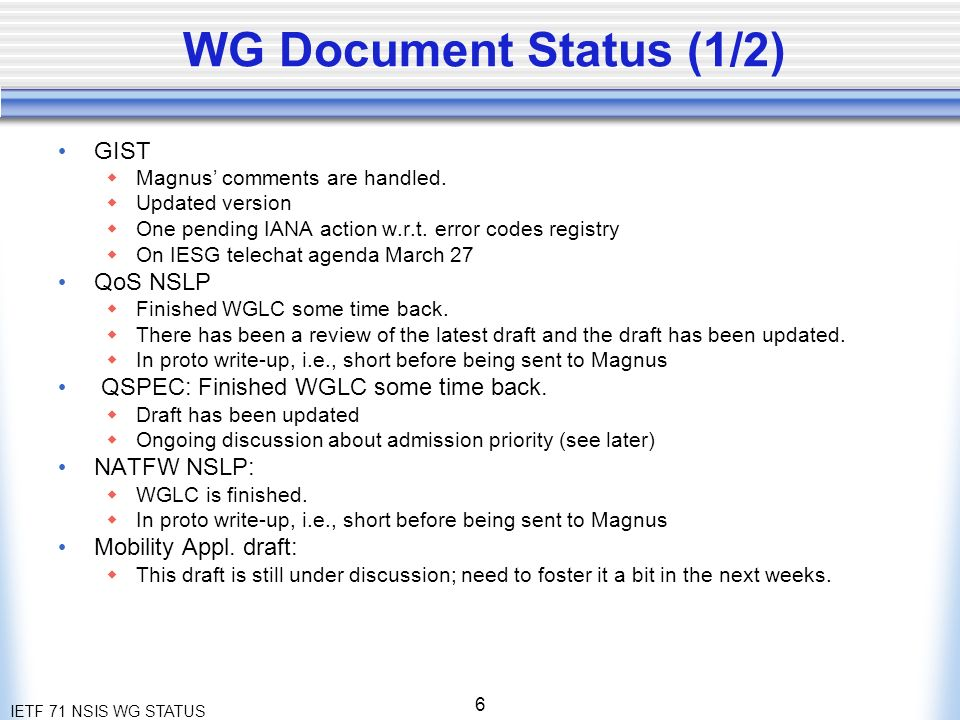 IETF 71 NSIS WG STATUS 6 WG Document Status (1/2) GIST Magnus comments are handled.