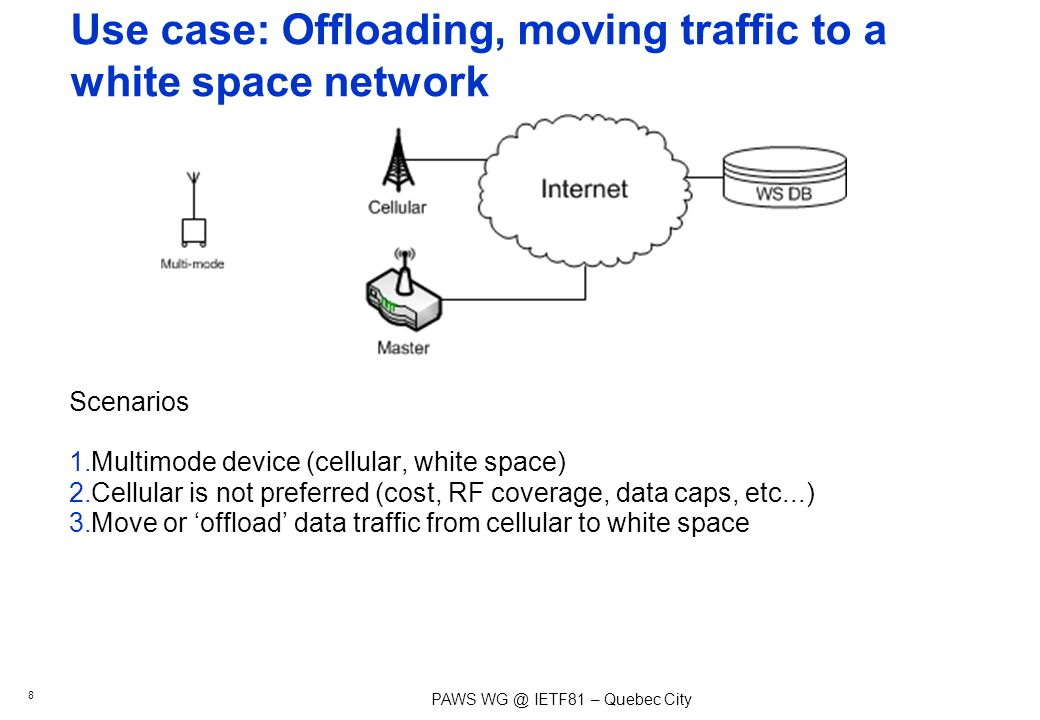 PAWS IETF81 – Quebec City Scenarios 1.Multimode device (cellular, white space) 2.Cellular is not preferred (cost, RF coverage, data caps, etc...) 3.Move or offload data traffic from cellular to white space Use case: Offloading, moving traffic to a white space network 8