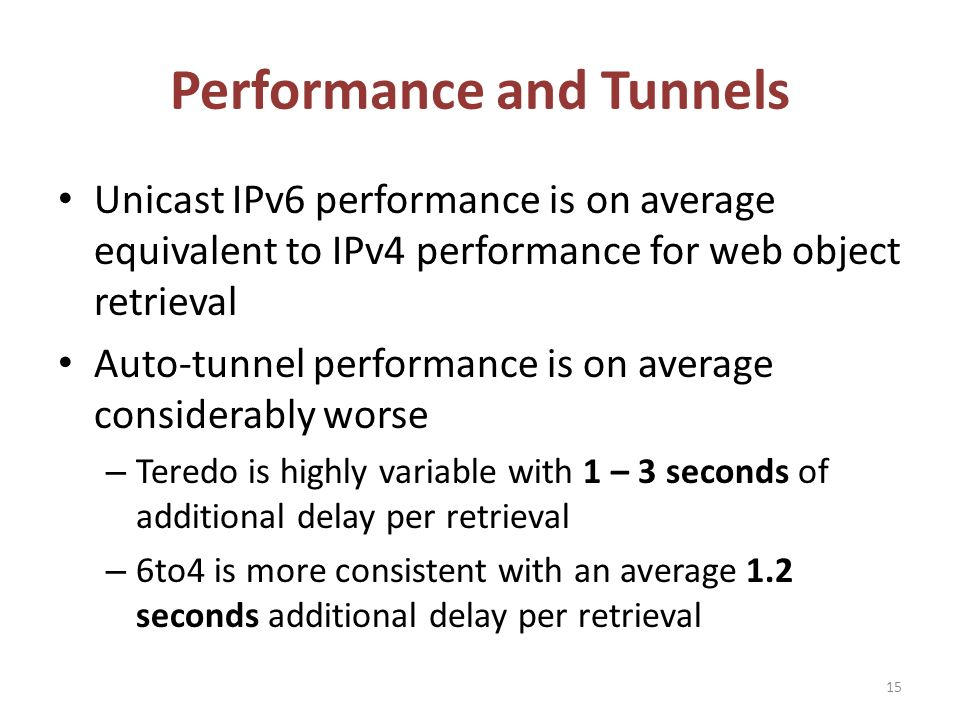 Performance and Tunnels 15 Unicast IPv6 performance is on average equivalent to IPv4 performance for web object retrieval Auto-tunnel performance is on average considerably worse – Teredo is highly variable with 1 – 3 seconds of additional delay per retrieval – 6to4 is more consistent with an average 1.2 seconds additional delay per retrieval