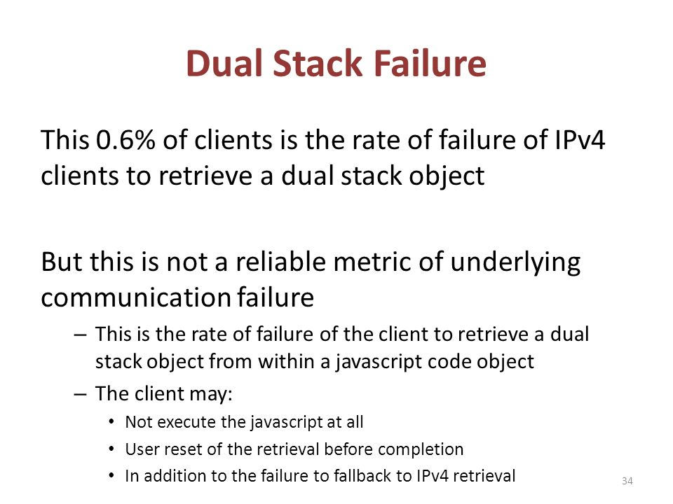 Dual Stack Failure This 0.6% of clients is the rate of failure of IPv4 clients to retrieve a dual stack object But this is not a reliable metric of underlying communication failure – This is the rate of failure of the client to retrieve a dual stack object from within a javascript code object – The client may: Not execute the javascript at all User reset of the retrieval before completion In addition to the failure to fallback to IPv4 retrieval 34