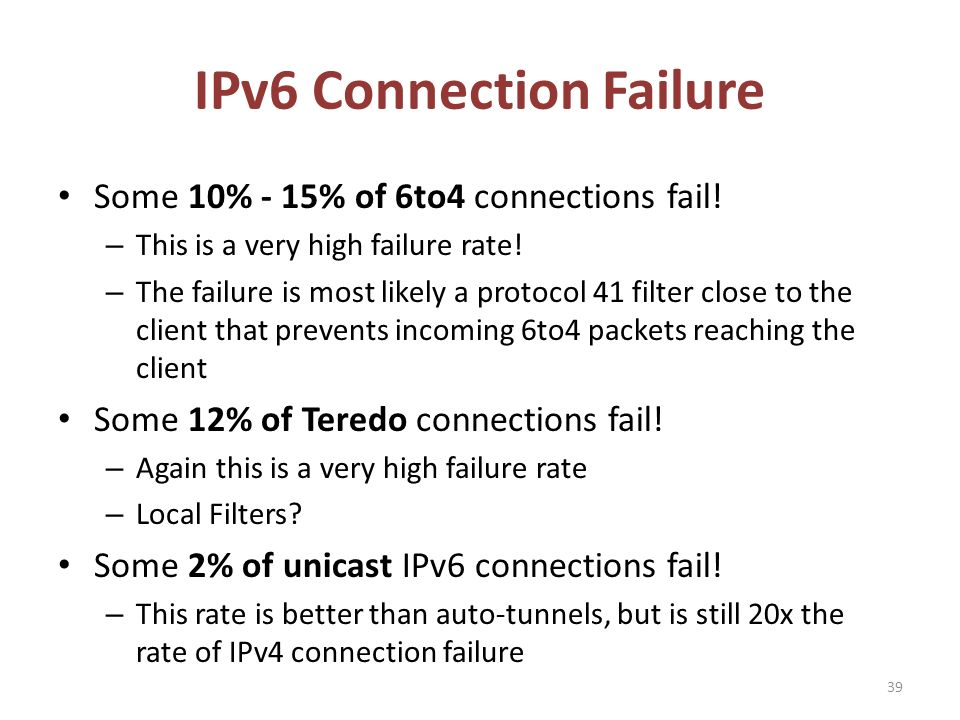 IPv6 Connection Failure 39 Some 10% - 15% of 6to4 connections fail.