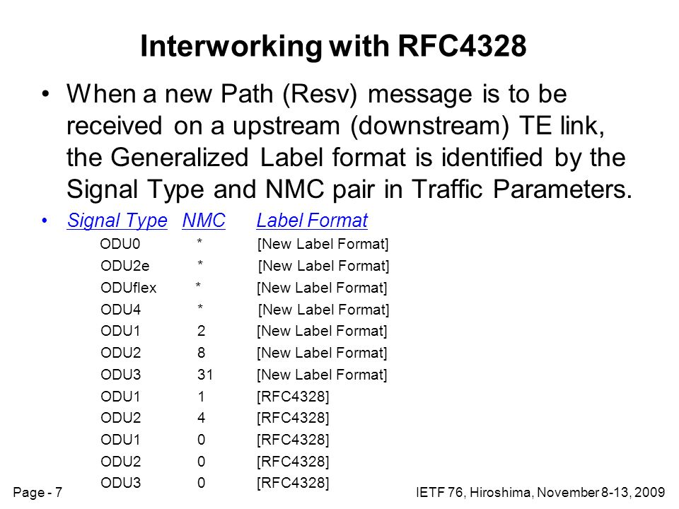 Page - 7IETF 76, Hiroshima, November 8-13, 2009 Interworking with RFC4328 When a new Path (Resv) message is to be received on a upstream (downstream) TE link, the Generalized Label format is identified by the Signal Type and NMC pair in Traffic Parameters.