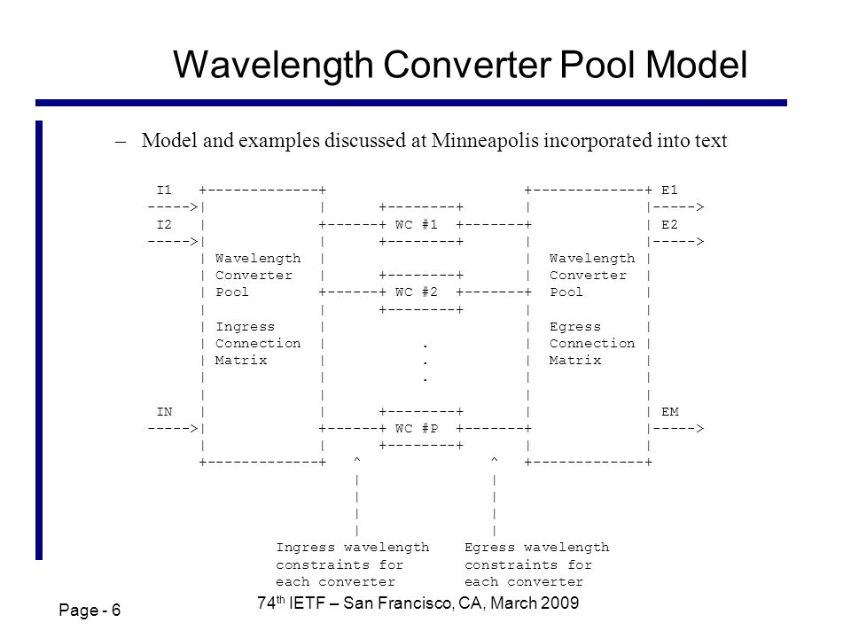 Page - 6 74 th IETF – San Francisco, CA, March 2009 Wavelength Converter Pool Model –Model and examples discussed at Minneapolis incorporated into text I1 +-------------+ +-------------+ E1 ----->| | +--------+ | |-----> I2 | +------+ WC #1 +-------+ | E2 ----->| | +--------+ | |-----> | Wavelength | | Wavelength | | Converter | +--------+ | Converter | | Pool +------+ WC #2 +-------+ Pool | | | +--------+ | | | Ingress | | Egress | | Connection |.