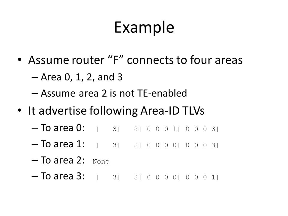 Example Assume router F connects to four areas – Area 0, 1, 2, and 3 – Assume area 2 is not TE-enabled It advertise following Area-ID TLVs – To area 0: | 3| 8| 0 0 0 1| 0 0 0 3| – To area 1: | 3| 8| 0 0 0 0| 0 0 0 3| – To area 2: None – To area 3: | 3| 8| 0 0 0 0| 0 0 0 1|
