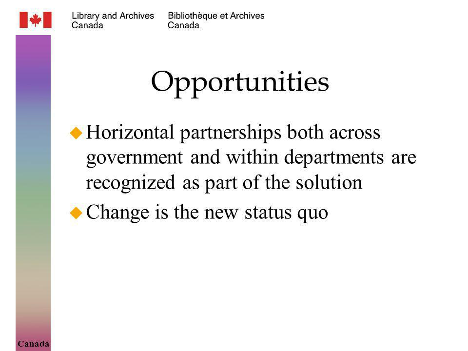 Canada Opportunities Horizontal partnerships both across government and within departments are recognized as part of the solution Change is the new status quo
