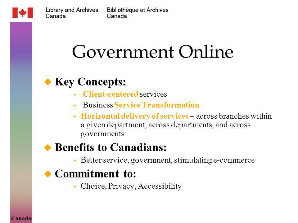 Canada Government Online Key Concepts: Client-centered services Business Service Transformation Horizontal delivery of services – across branches within a given department, across departments, and across governments Benefits to Canadians: Better service, government, stimulating e-commerce Commitment to: Choice, Privacy, Accessibility
