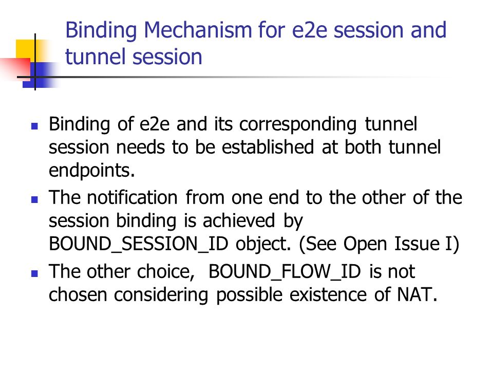 Binding Mechanism for e2e session and tunnel session Binding of e2e and its corresponding tunnel session needs to be established at both tunnel endpoints.