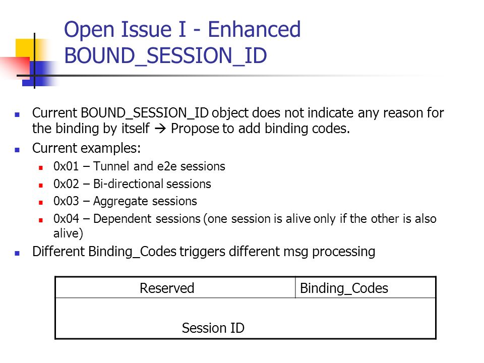 Open Issue I - Enhanced BOUND_SESSION_ID Current BOUND_SESSION_ID object does not indicate any reason for the binding by itself Propose to add binding codes.
