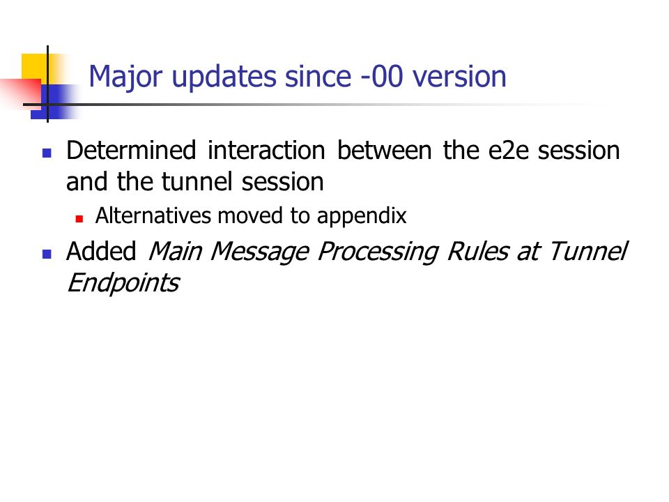 Major updates since -00 version Determined interaction between the e2e session and the tunnel session Alternatives moved to appendix Added Main Message Processing Rules at Tunnel Endpoints