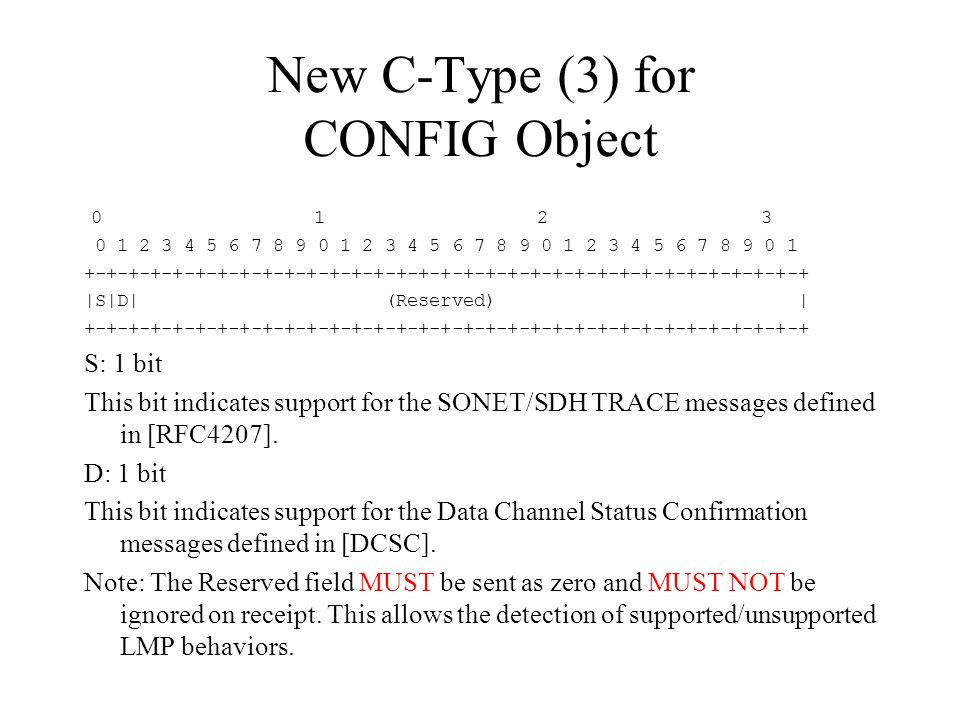 New C-Type (3) for CONFIG Object 0 1 2 3 0 1 2 3 4 5 6 7 8 9 0 1 2 3 4 5 6 7 8 9 0 1 2 3 4 5 6 7 8 9 0 1 +-+-+-+-+-+-+-+-+-+-+-+-+-+-+-+-+-+-+-+-+-+-+-+-+-+-+-+-+-+-+-+-+ |S|D| (Reserved) | +-+-+-+-+-+-+-+-+-+-+-+-+-+-+-+-+-+-+-+-+-+-+-+-+-+-+-+-+-+-+-+-+ S: 1 bit This bit indicates support for the SONET/SDH TRACE messages defined in [RFC4207].