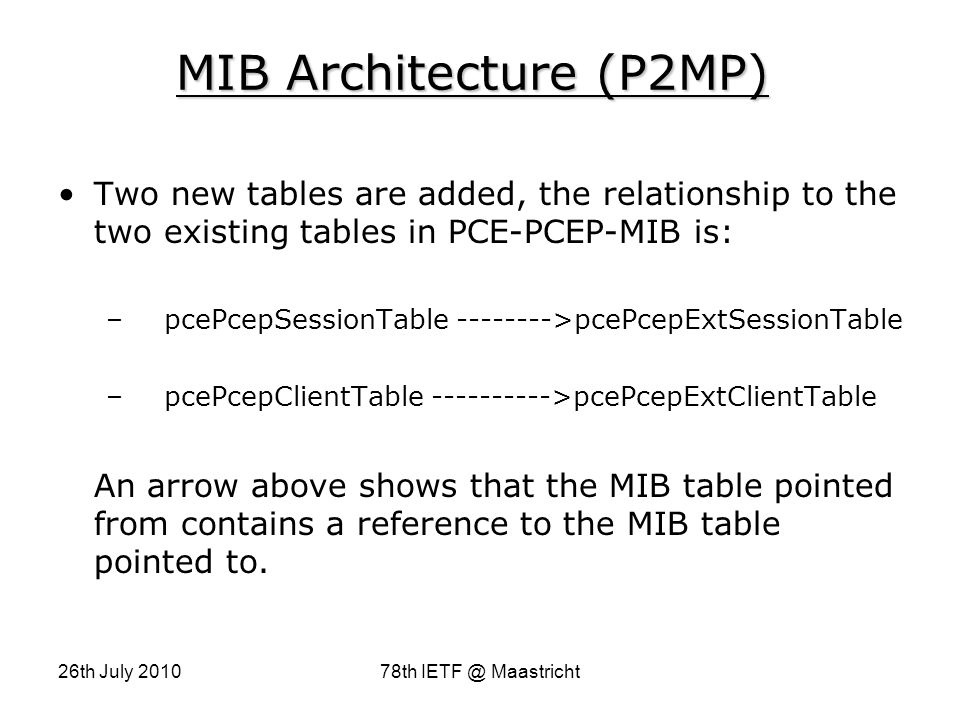 26th July 201078th IETF @ Maastricht MIB Architecture (P2MP) Two new tables are added, the relationship to the two existing tables in PCE-PCEP-MIB is: – pcePcepSessionTable -------->pcePcepExtSessionTable – pcePcepClientTable ---------->pcePcepExtClientTable An arrow above shows that the MIB table pointed from contains a reference to the MIB table pointed to.