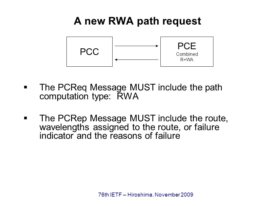 76th IETF – Hiroshima, November 2009 A new RWA path request The PCReq Message MUST include the path computation type: RWA The PCRep Message MUST include the route, wavelengths assigned to the route, or failure indicator and the reasons of failure PCC PCE Combined R+WA