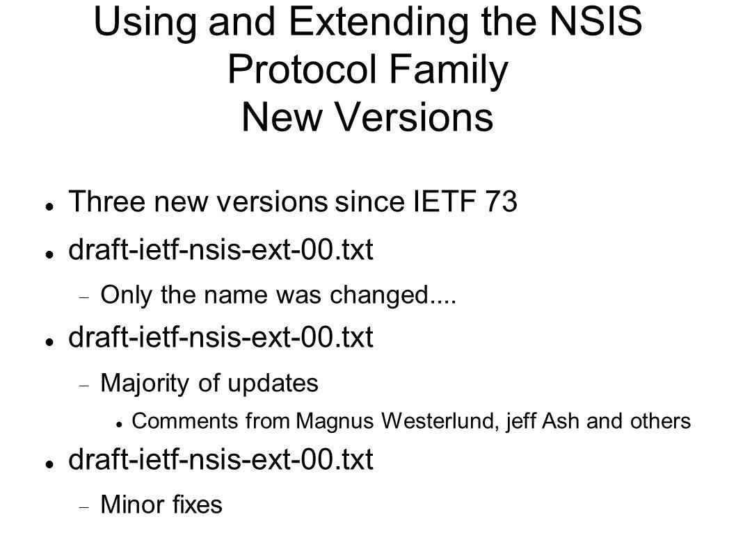 Using and Extending the NSIS Protocol Family New Versions Three new versions since IETF 73 draft-ietf-nsis-ext-00.txt Only the name was changed....