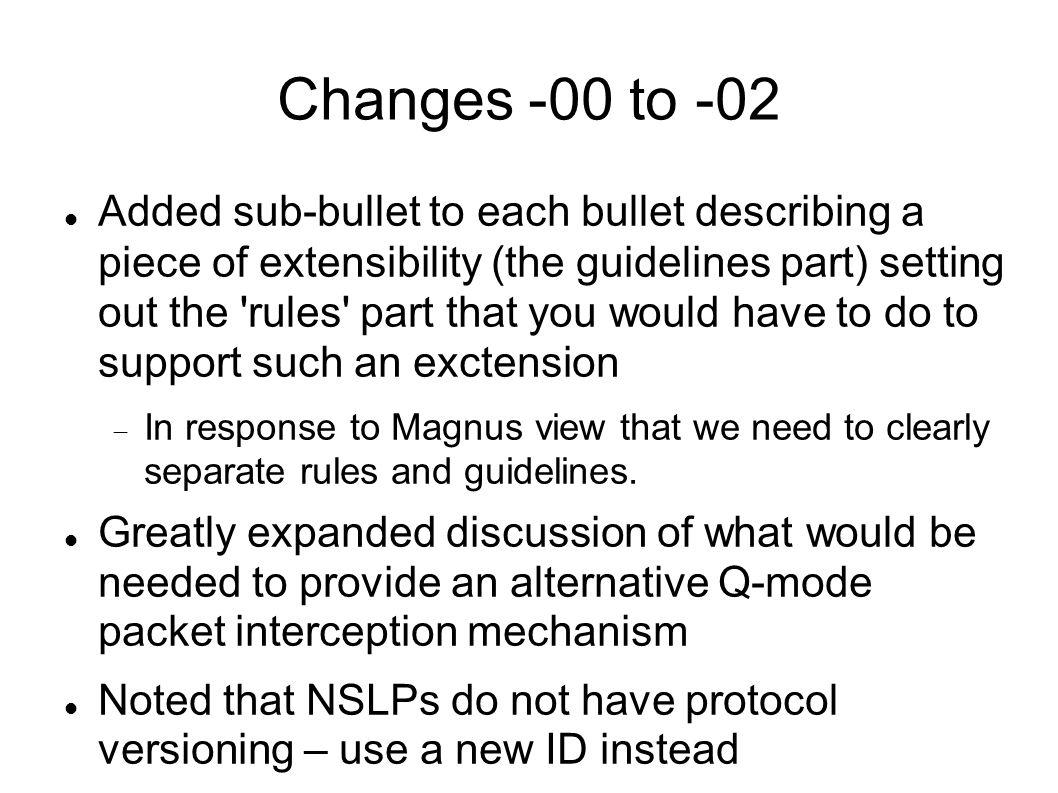 Changes -00 to -02 Added sub-bullet to each bullet describing a piece of extensibility (the guidelines part) setting out the rules part that you would have to do to support such an exctension In response to Magnus view that we need to clearly separate rules and guidelines.