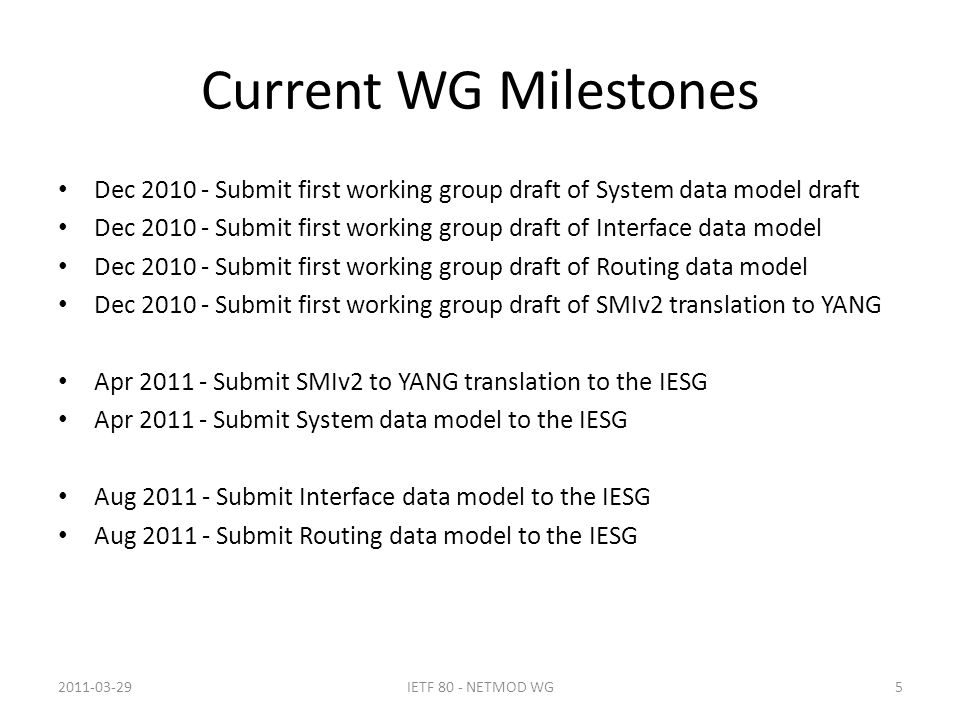 Current WG Milestones Dec 2010 - Submit first working group draft of System data model draft Dec 2010 - Submit first working group draft of Interface data model Dec 2010 - Submit first working group draft of Routing data model Dec 2010 - Submit first working group draft of SMIv2 translation to YANG Apr 2011 - Submit SMIv2 to YANG translation to the IESG Apr 2011 - Submit System data model to the IESG Aug 2011 - Submit Interface data model to the IESG Aug 2011 - Submit Routing data model to the IESG 2011-03-29IETF 80 - NETMOD WG5