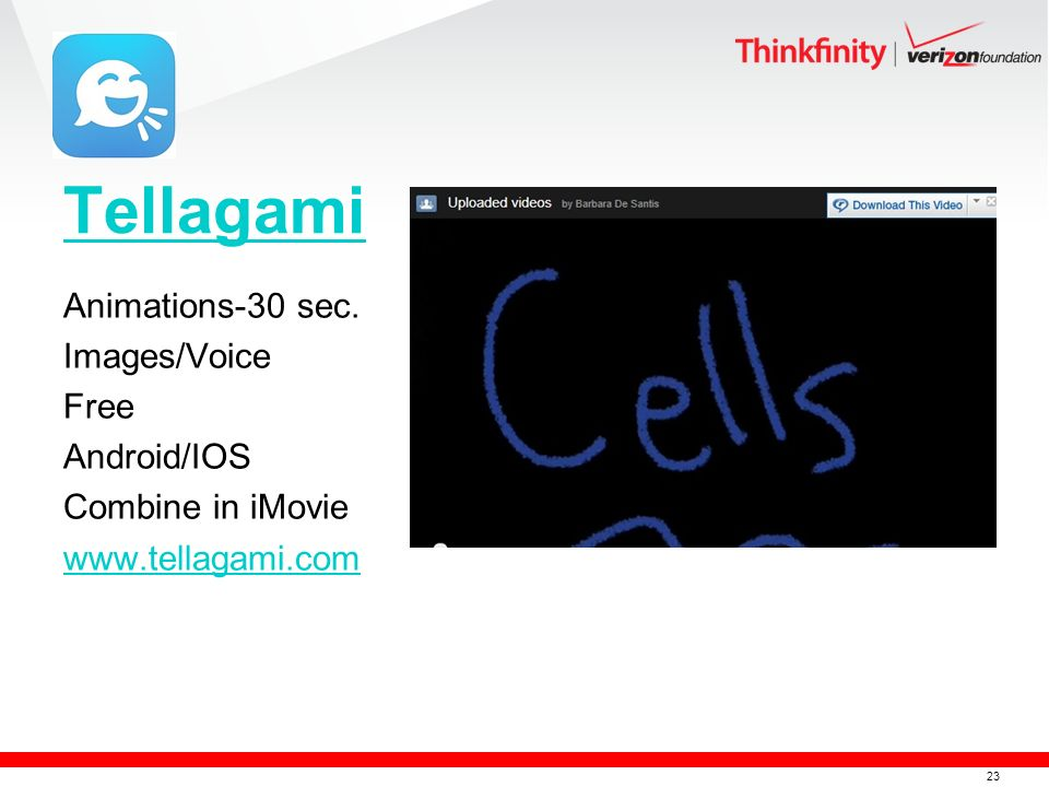 23 Tellagami Animations-30 sec. Images/Voice Free Android/IOS Combine in iMovie www.tellagami.com