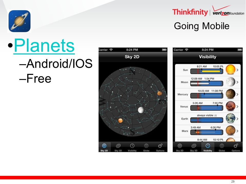 29 Going Mobile Planets –Android/IOS –Free