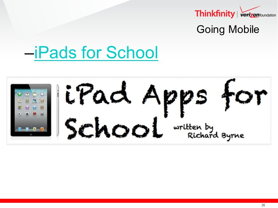 35 Going Mobile –iPads for SchooliPads for School