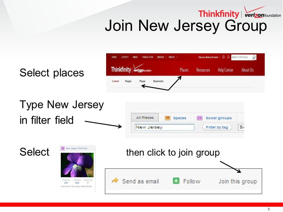 6 Select places Type New Jersey in filter field Select then click to join group Join New Jersey Group