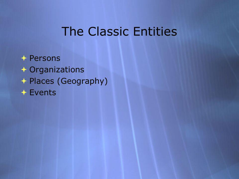 The Classic Entities Persons Organizations Places (Geography) Events Persons Organizations Places (Geography) Events