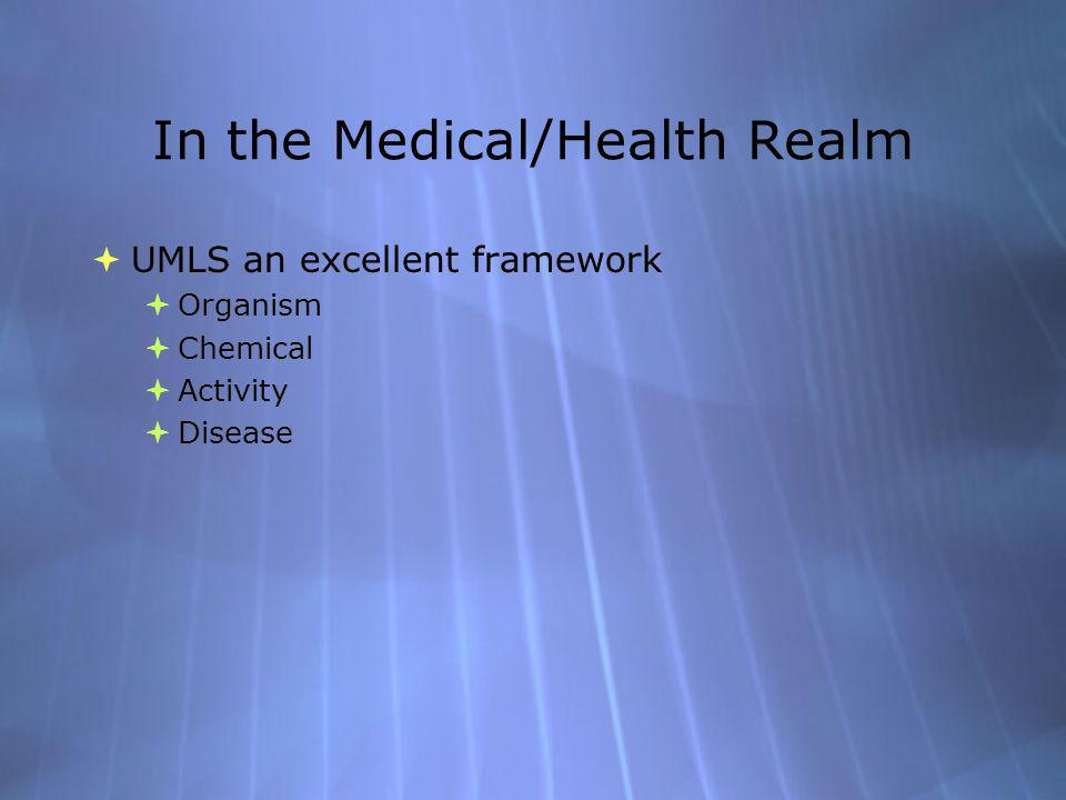 In the Medical/Health Realm UMLS an excellent framework Organism Chemical Activity Disease UMLS an excellent framework Organism Chemical Activity Disease
