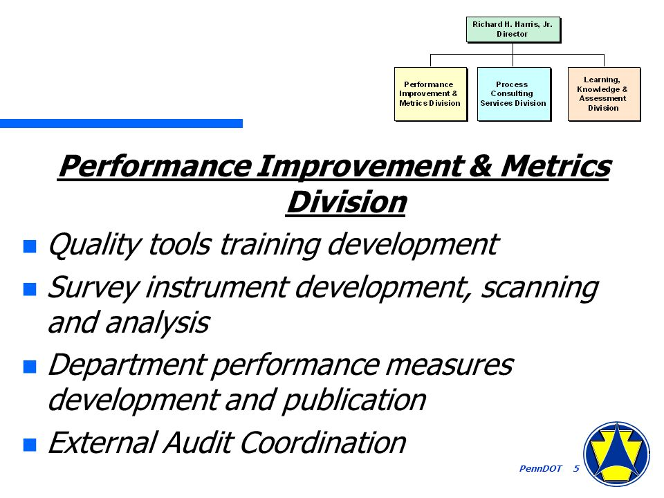 PennDOT 5 Performance Improvement & Metrics Division n Quality tools training development n Survey instrument development, scanning and analysis n Department performance measures development and publication n External Audit Coordination